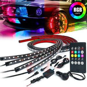 Much 4x Rgb 8 Color Led Strip Under Car Tube Underglow Underbody System Lights
