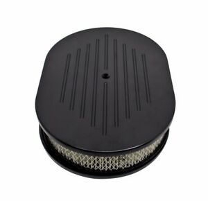 12 Oval Black Ball Milled Aluminum Air Cleaner For Chevy Ford Mopar 5 1 8 Neck