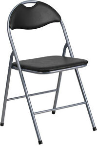 Lot Of 2 New Black Vinyl Metal Padded Folding Chairs With Carrying Handle
