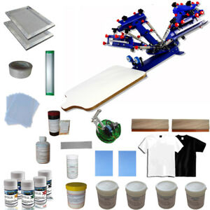 4 Color Screen Printing Kit Table Press Printer With Consumables Pigment