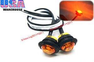 2x 3 4 Marker Lights Triple Diode Led Truck Trailer Clearance Indicator Yellow