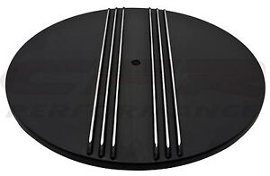 Aluminum 14 Round Air Cleaner Top Polished Partial Finned Black