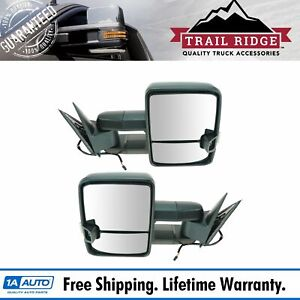 Trail Ridge Towing Mirror Manual Smoked Signal Led Spotlight Pair For Gm Truck