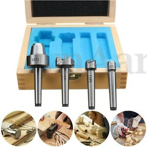 Wood Lathe Live Center And Drive Spur Cup 4pcs Set Mt1 Arbor With Wooden Case