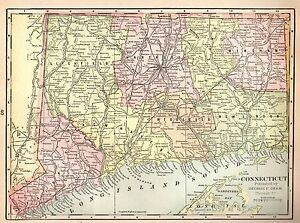 1901 Antique Connecticut Map Of Connecticut Original State Map 3774