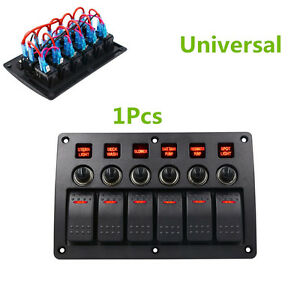 1x Red Led Car Switch Panel Circuit Breakers Overload Protected Car Switch Panel