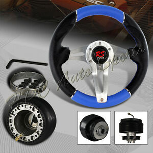 320mm Black blue Leather 6 Hole Racing Steering Wheel For Mitsubishi Adapter