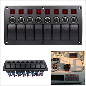 12 24v 3 pin 8 Gang Car Rocker Switch Panel Circuit Breakers Red Led Waterproof