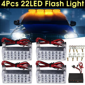 4x22 88led Amber Vehicle 12v Emergency Warning Hazard Flashing Strobe Light New
