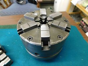 Buck 5 0 6 Jaw Lathe Chuck With Hardinge Adaptor Plate And Several Jaw Sets