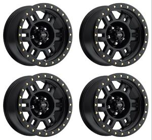 Set 4 16 Vision 398 Manx Black Rims 16x8 5x5 0mm Jeep Wrangler Chevy Gmc 5 Lug