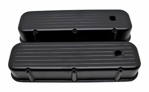 Ball Milled Black Aluminum Tall Valve Covers For 65 95 Chevy Bb 396 427 454 502