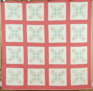 Well Quilted Vintage 30 S Floral Wreath Antique Quilt Gorgeous Hand Quilting