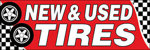 New Used Tires Vinyl Banner Sign 5x15 Ft Auto Shop New red