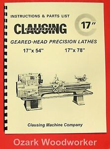 Clausing colchester 17 Geared Head Metal Lathe Operating Parts Manual 0161