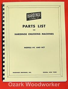 Hardinge Hc Hct Chucking Lathe Parts Manual 0337
