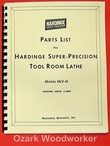 Hardinge Hlv h Metal Lathe Parts Manual 0344