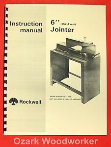 Rockwell delta 6 Jointer 37 600 Operator Parts Manual 0629