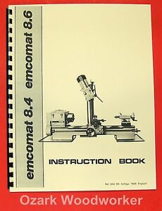 Emco Emcomat 8 4 8 6 Metal Lathe With Mill Instructions Manual 0868