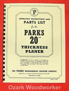 Parks 20 Thickness Planer Operator s Parts Manual 0505