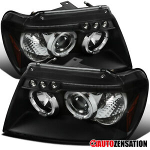For 1999 2004 Jeep Grand Cherokee Black Led Halo Rims Projector Headlights