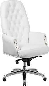Conference Table High Back Tufted White Leather Multifunction Swivel Chair