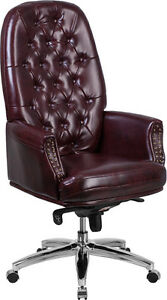 Conference Table High Back Tufted Burgundy Leather Multifunction Swivel Chair