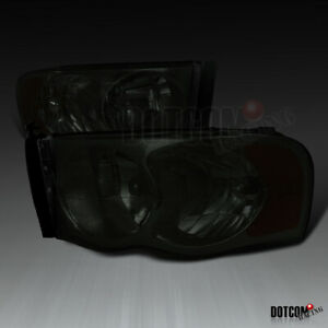 For 2002 2005 Dodge Ram 1500 2500 3500 Pickup Smoke Tinted Headlights Left Right
