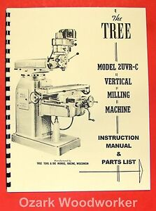 Tree 2uvrc Vertical Milling Machine Instructions Parts Manual 2uvr c 0952