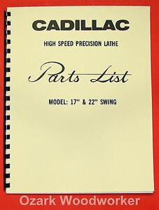 Cadillac 17 22 Metal Lathe Parts Manual 0112