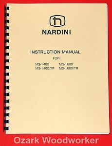 Nardini Ms 1400 tr Ms 1600 tr Metal Lathe Instructions Parts Manual 1003
