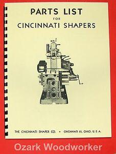 Cincinnati 16 20 24 28 32 36 Metal Shapers Parts Manual 0122