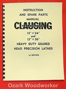 Clausing colchester 13 x24 13 x36 Metal Lathe Operator Part Manual 0160