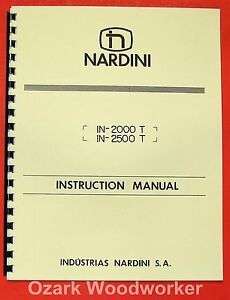 Nardini In 2000t 2500t Lathe Operator s Parts Manual 0480