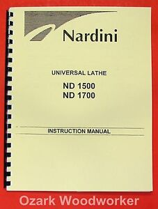 Nardini Nd 1500 1700 Lathe Operator s Part Manual 0485