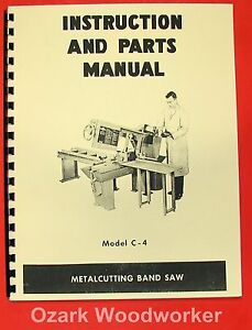 Doall Model C 4 Horizontal Band Saw Instruction Parts Manual C4 0269
