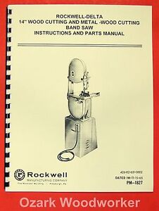 Rockwell delta 14 Inch Wood Metal Band Saw Manual 0625
