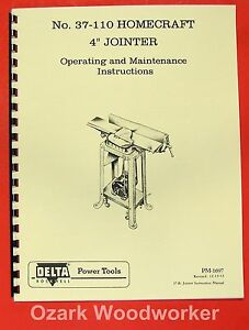 Homecraft Delta 37 110 4 Jointer Operator Manual 0362