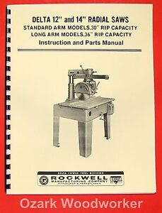 Delta rockwell 12 14 Radial Arm Saw Instructions Parts Manual 0229