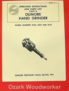 Dumore 10 Hand Grinder 8168 8169 8170 Instructions Parts Manual 0283