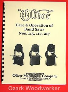 Oliver Nos 115 117 217 Band Saws Care And Operation Instructions Manual 1036