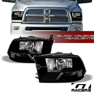Dual Lamps For 2009 2018 Dodge Ram Factory Style Black Clear Headlights Pair Nb