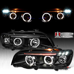 Fit 2001 2003 Bmw E53 X5 Dual Halo Projector Headlights Black Led Drl Head Lamps