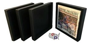 Lot Of 4 Newspaper Display Frame Case Black Magazine Extra Deep Uv Protecting