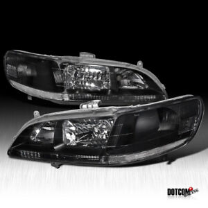 Fit 1998 2002 Honda Accord Black Clear Headlights Driving Head Lamps Left right