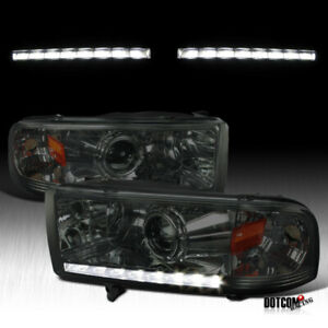 For 1994 2001 Dodge Ram 1500 2500 3500 Smoke Lens Led Drl Projector Headlights
