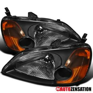 For 01 03 Honda Civic 2dr 4dr Jdm Black Crystal Headlights Right Left