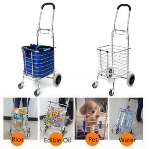 Aluminum Folding Portable Shopping Grocery Basket Cart Trolley Swivel Wheel Us