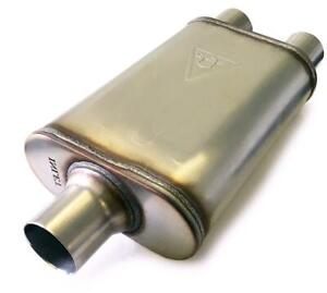 Universal Dual Chamber Muffler 2 5 Inlet 2 5 Dual Outlet