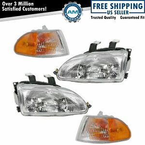 Headlight Lamp Parking Marker Corner Light Lh Rh 4 Piece Kit For Civic Sedan
